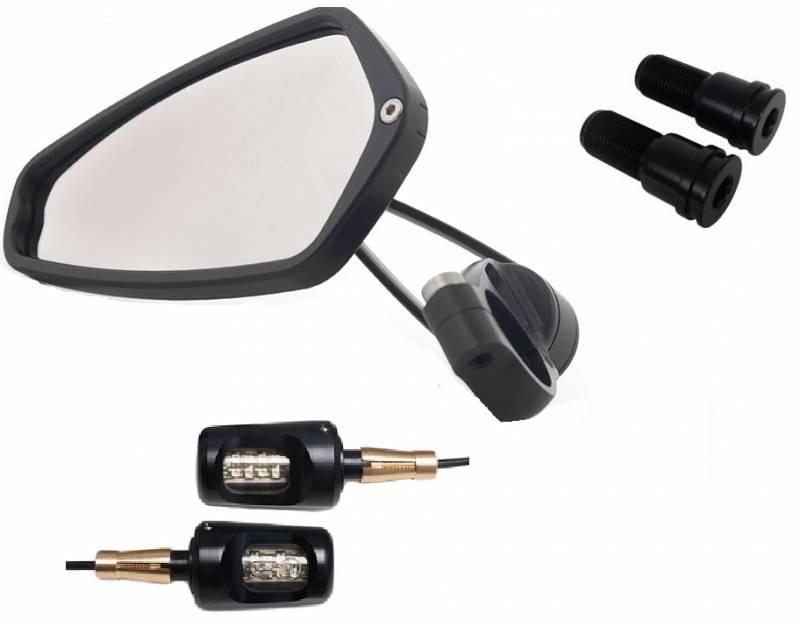 Oberon Bar End Turn Signals W Crg Arrow Mirrors Kit