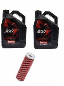 Motul - Ducati Oil Change Kit: MOTUL 300V 10W-40 or 15W-50 Synthetic Oil & K&N Oil Filter [PANIGALE Series Only]