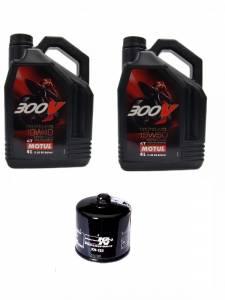 Motul - Ducati Oil Change Kit: MOTUL 300V 10W-40 or 15W-50 Synthetic Oil &K&NOil Filter[Except PANIGALE]