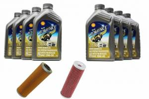 Shell - Ducati Oil Change Kit: Shell Advance 4T Ultra 10W-40 or 15W-50 Synthetic Oil & K&N Or Hiflo Oil Filter [PANIGALE series Only]