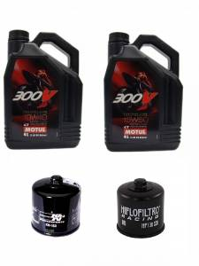 Motul - Ducati Oil Change Kit: MOTUL 300V 10W-40 or 15W-50 Synthetic Oil & K&N Or Hiflo Oil Filter [Except PANIGALE]