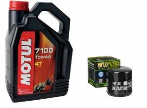 Motul - MV Agusta Oil Change Kit: MOTUL 7100 4T 10W-60 Full Synthetic Oil & Oil Filter Kit; F4 750/1000/ Brutale Up to 2009