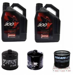 Motul - Ducati Oil Change Kit: MOTUL 300V 10W-40 or 15W-50 Synthetic Oil & Choice Of Oil Filter [All Ducatis Except PANIGALE] - Image 1