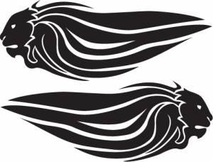 Stickers - Aprilia Lion Head Long RED Sticker [Pair] - Image 1