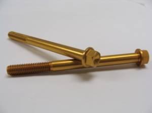 6x75 Gold Aluminum Hex Flange Bolt - Image 1