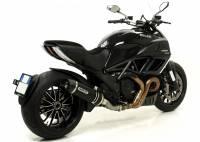 ARROW Race-Tech Aluminum Dark Slip-ons w/ Carbon Fiber End Cap: Diavel / Monster 821/1200 / Multistrada 1200