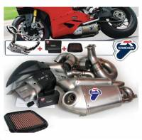 Exhaust - Full Systems - Termignoni - Termignoni Titanium/Steel Full Exhaust System With Up-Map And Performance Air Filter: Panigale 1199/S