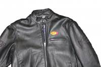 Men's Apparel - Men's Leather Jackets - Motowheels - Classic High Quality Leather Jacket With High Quality Zippers, BST Patch & Embroidered Motowheels logo : Euro 56 / 46 US