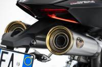 Zard - ZARD 2-1-2 Underseat Full Exhaust System With Gold Finish End-Caps: Ducati Panigale 1199