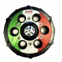 "Clutch - Pressure Plates - EVR - EVR Ducati Progressive Engagement Clutch Pressure Plate: ""ITALY"" Black / Flag [Non Slipper] With Ceramic Bearing"