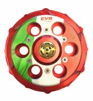 "Clutch - Pressure Plates - EVR - EVR Ducati Progressive Engagement Clutch Pressure Plate: ""ITALY"" Red / Flag [Non Slipper] With Ceramic Bearing"