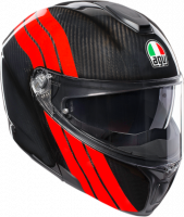AGV - AGV SportModular Stripes Red/Carbon