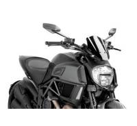 Puig - Puig Naked Bike Sport/Touring Windscreen: Ducati Diavel '14-'18