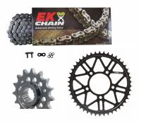 Drive Train - Rear Sprockets - SUPERLITE - SUPERLITE Complete Sprocket and EK Chain Kit [OEM Size 520-15/46]: Ducati Monster 821