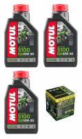 Motul - Motul 5100 Synthetic Blend 4T Oil Change Kit: Honda CB650F, CBR650F '19+