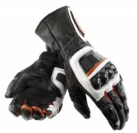 Men's Apparel - Men's Gloves - DAINESE Closeout  - DAINESE Steel Core Carbon Gloves - Black/White/Red